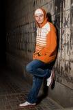 Hip-hop labró al muchacho al aire libre Foto de archivo
