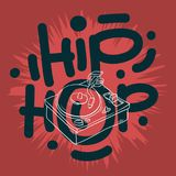 Hip Hop Lettering Custom Type Design With A Turntable Drawing. Artistic Cartoon Hand Drawn Sketchy Line Art Style. Vector Graphic Royalty Free Stock Photos