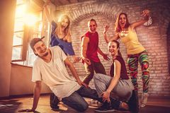 Hip hop lifestyle concept - dancers urban hip hop team stock photography