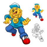 Hip Hop Lion Mascot Cartoon Character Foto de archivo libre de regalías