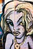 Hip-Hop-Mädchen des blonden Haares mit Halskettengraffiti auf einer Backsteinmauer stock abbildung