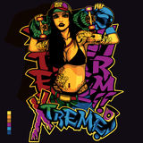 Hip Hop-Mädchen-Hemd-Design vektor abbildung