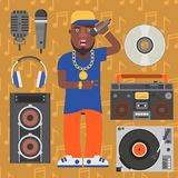 Hip hop man accessory musician vector accessories microphone breakdance expressive rap modern young fashion person adult. People illustration. Hip hop dancer Stock Images