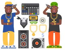 Hip hop man accessory musician vector accessories microphone breakdance expressive rap modern young fashion person adult. People illustration. Hip hop dancer Royalty Free Stock Images