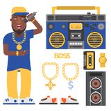 Hip hop man accessory musician vector accessories microphone breakdance expressive rap modern young fashion person adult. People illustration. Hip hop dancer Royalty Free Stock Photos