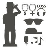 Hip hop man accessory musician vector accessories silhouette microphone breakdance expressive rap modern young fashion. Person adult people illustration. Hip Royalty Free Stock Photo