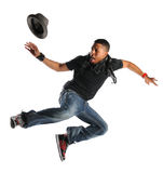 Hip Hop man Dancing. African American hip hop man dancing isolated over white background Royalty Free Stock Images