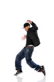 Hip Hop Man Dancing. African American hip hop man dancing isolated over white Stock Image