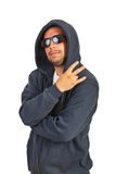 Hip hop man gesturing with fingers. Isolated on white background Stock Images