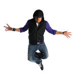 Hip Hop Man Jumping. Portrait of African American hip hop dancer jumping isolated over white background Royalty Free Stock Photography