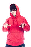 Hip Hop man pointing at you. Hip Hop man in red hoody pointing at you. Isolated on white background Stock Photo