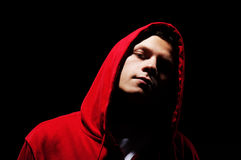 Hip-hop man in red hood Royalty Free Stock Images