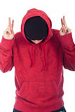 Hip Hop man in red hoody posing Stock Photography