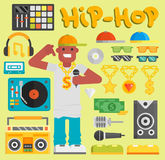 Hip hop man vector musician with microphone breakdance expressive rap modern young rapper guy dancer trendy lifestyle Stock Photography