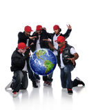 Hip Hop Men With Earth Suspended Royalty Free Stock Image