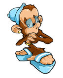 Hip Hop Monkey Man. Young hip hop monkey animal posing with urban style Royalty Free Stock Images