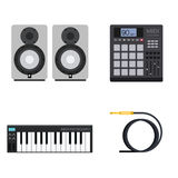 Hip-Hop Music Gear. Set of Vector Illustrations of Hip-Hop Gear and Instruments including MIDI Controller With Pads, Keyboard, Acoustics and Cable Royalty Free Stock Image