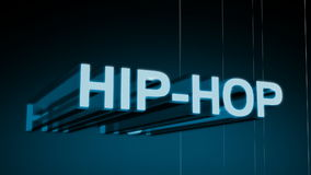 Hip Hop Music Genre Header. In 3D animating in and rotating with a wireframe rotating background. Last 10 seconds loop. HD 1080i stock footage