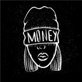 Hip Hop music girl. Pretty Young Urban Rap Girl. Lady Vector artwork. Doodle art isolated on black background. Face royalty free stock image