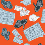 Hip hop music seamless pattern. Backgrounds Stock Image