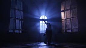 Hip-hop performed slim dancer girl. Silhouette in moonlight, slow motion