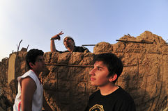 Hip Hop Portrait In Kuwait. A group of youth in Kuwait try to be like americans Hip Hop, some is good some is not Royalty Free Stock Photography