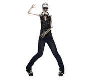 Hip Hop poserar den skelett- dansen med headphonen med den snabba banan Arkivfoton