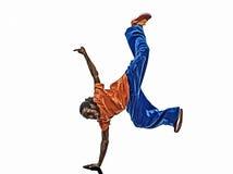Hip hop przerwy akrobatycznego tancerza młodego człowieka breakdancing handstand Zdjęcie Royalty Free