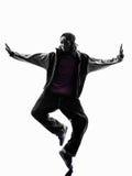 Hip hop przerwy akrobatycznego tancerza młodego człowieka breakdancing sylwetka Obraz Stock