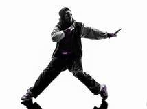 Hip hop przerwy akrobatycznego tancerza młodego człowieka breakdancing sylwetka Obraz Royalty Free