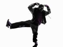 Hip hop przerwy akrobatycznego tancerza młodego człowieka breakdancing sylwetka Zdjęcia Stock