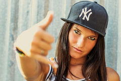 Hip hop rap girl. Looking into the camera royalty free stock photo