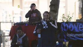 Hip hop rap public street rap concert stock footage
