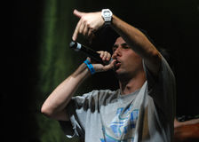Hip Hop singer performs in concert at Street Heroes urban festival Royalty Free Stock Photo