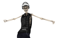 Hip Hop Skeleton Dance with headphone Pose with clipping path Royalty Free Stock Photography