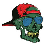 Hip Hop Skull. Illustration of a rotten skull with decayed teeth and fresh sunglasses Royalty Free Stock Images