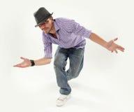 Hip-hop style dancer. Hip hop dancer  over white background Stock Photography