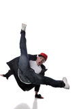 Hip-hop style dancer. Performing against a white background Royalty Free Stock Photos