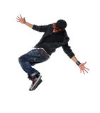 Hip Hop Style Dancer Jumping Stock Images