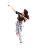 Hip-hop style teenage girl jumping dancing Royalty Free Stock Image
