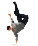 Hip Hop-Tänzer auf einer Bewegung lokalisiert auf Weiß Lizenzfreie Stockfotografie