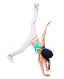 Hip-Hop-Tänzertanzen lokalisiert auf weißem Hintergrund Stockbilder