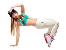 Hip hop tancerza taniec odizolowywający na białym tle Zdjęcie Royalty Free