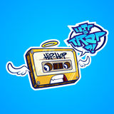 Hip-hop tape with wings. Cute cartoon illustration Royalty Free Stock Images