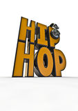 Hip hop title. 3D render of hip hop title with headphones Royalty Free Stock Image