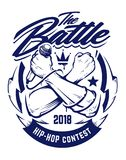Hip-hop Vector Emblem. Hip-hop monochrome emblem with crossed brutal hands keeping microphone. Rap battle emblem template with hip-hop and graffiti elements vector illustration