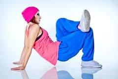 Hip-hop woman dancing in studio. Woman dancing hip hop in studio Stock Photo