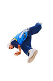 Hip-hop young man making cool move. On white background royalty free stock images