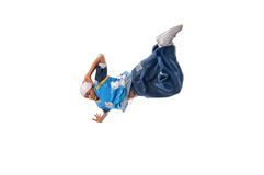 Hip-hop young man making cool move. On white background royalty free stock image