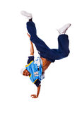 Hip-hop young man making cool move on white backgr Stock Photo